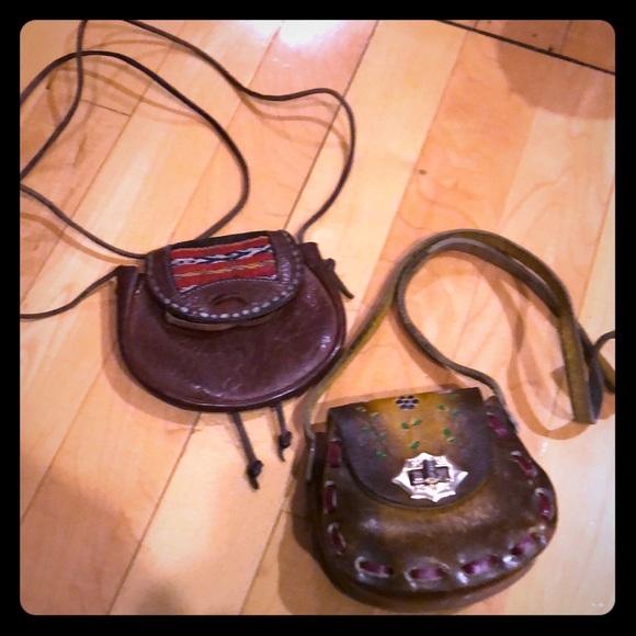 Vintage Handbags - Set of two - boho hippie leather mini purses